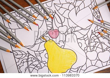 Antistress colouring book and pencils