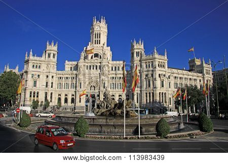 Madrid, Spain - August 23, 2012: Telecomunications Palace - Madrid City Hall On Cibeles Square
