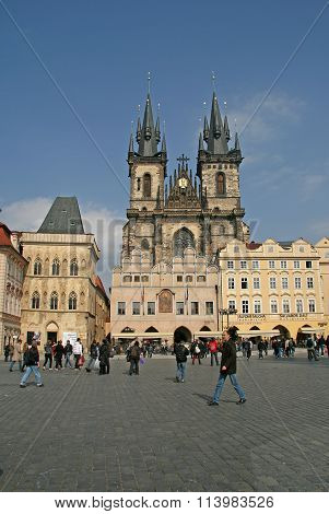 Prague, Czech Republic - April 16, 2010: Church Of Our Lady Before Tyn On The Old Town Square, Pragu
