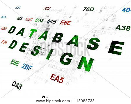 Software concept: Database Design on Digital background