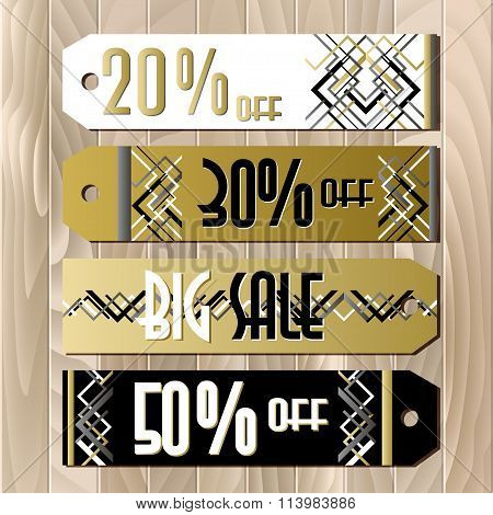 Golden black sale banner template in art deco outline style