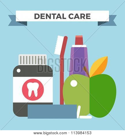 Tooth health vector illustration. Dentist tooth care vector. Dental care, tooth care tools, doctor office, tooth oral brush toothpaste. Dental infographic vector illustration