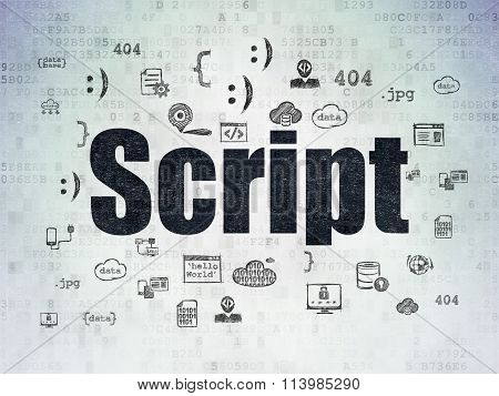 Software concept: Script on Digital Paper background