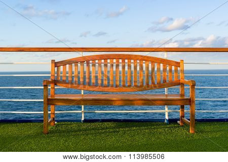 Wooden Bench On The Deck Of A Cruise Ship
