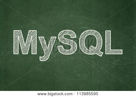 Database concept: MySQL on chalkboard background