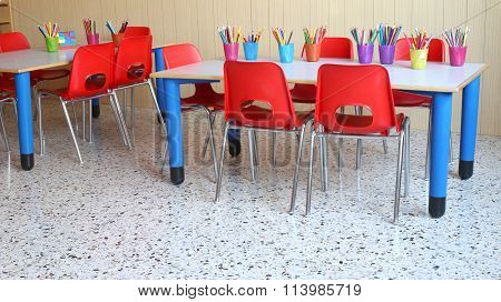 Kindergarten With Lots Of Colored Pencils