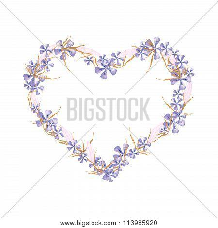 Geranium And Equiphyllum Flowers In A Heart Shape