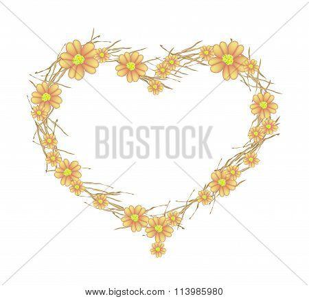 Orange Yarrow Flowers Forming in Heart Shape