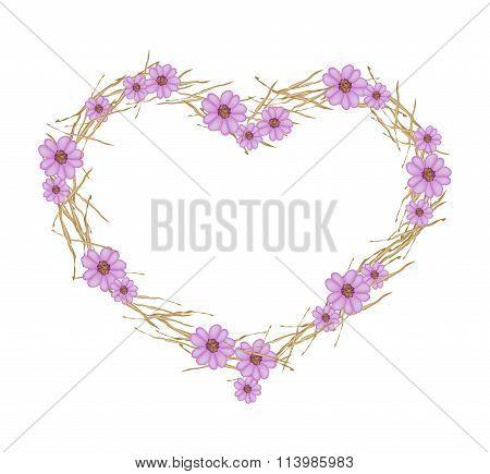 Violet Yarrow Flowers Forming in Heart Shape