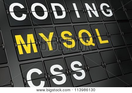 Database concept: MySQL on airport board background