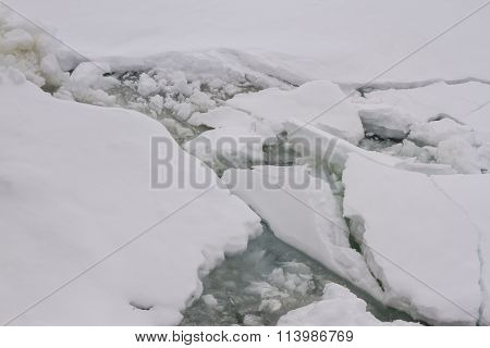 Pack Ice Floating In Antarctica