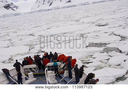Ship In Antarctic Pack Ice