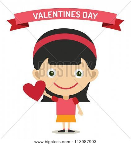 Cute cartoon girl with heart vector illustration. Vector girl fall in love, heart symbol. Cartoon girl valentine day card design. Cartoon girl with red heart isolated on background
