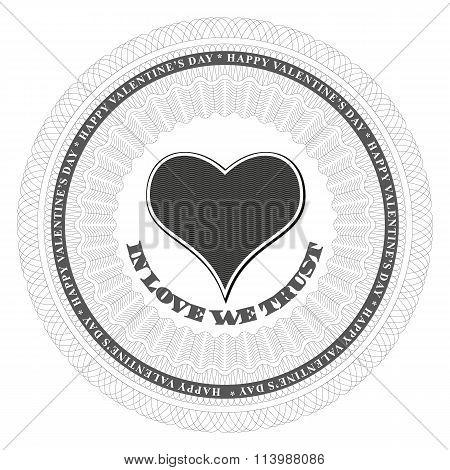 Guilloche Valentines Heart. Vector Illustration.