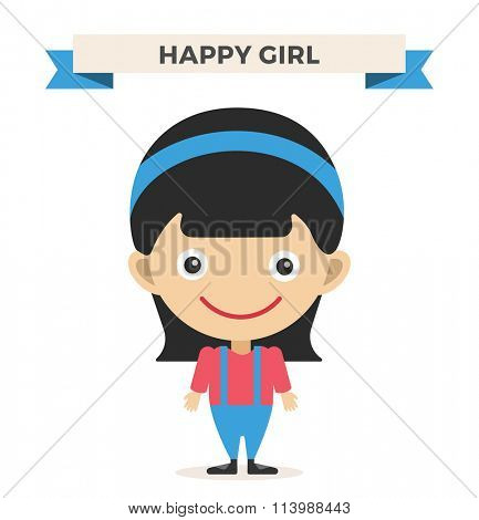 Cute little girl cute vector illustration. Girl on white background. Girl smiling face. Vector girl illustration. Young girl concept. Childhood, kids, young people. Teenagers children kids cartoon