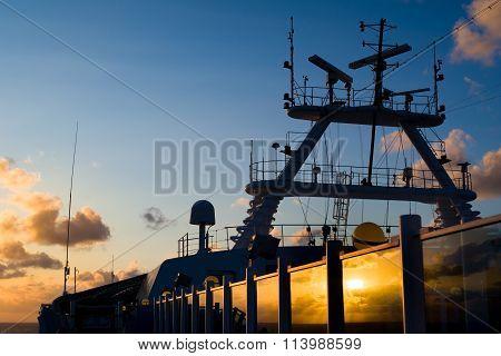 Sunrise Reflection On A Cruise Ship