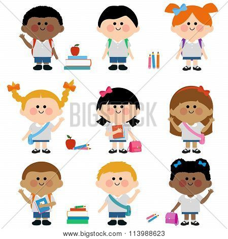 Diverse group of children students