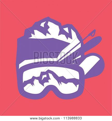 Ski resort logo emblems, labels badges vector elements. Extreme ski, snowboarding resort club badges set. Winter games, outdoors adventure ski snowboard logo badge vintage style. Ski resort logo icons