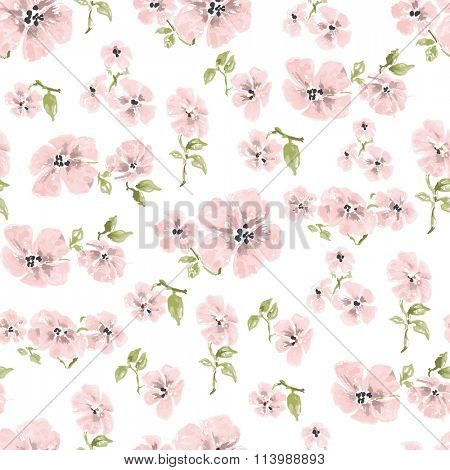 Watercolor pink flowers seamless pattern over white background