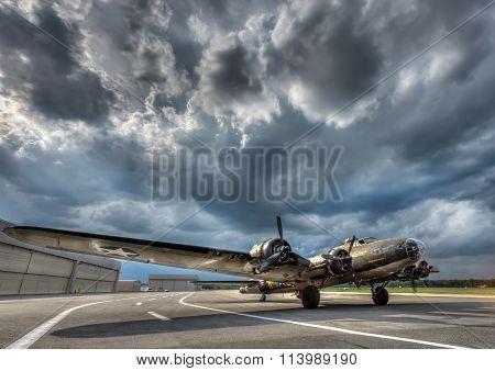 American World War 2 Bomber preparing for take off