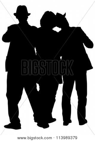 People in theatrical costumes on a white background