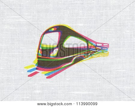 Tourism concept: Train on fabric texture background