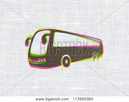 Vacation concept: Bus on fabric texture background