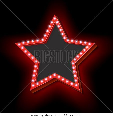 Retro frame with lights in the shape of a star