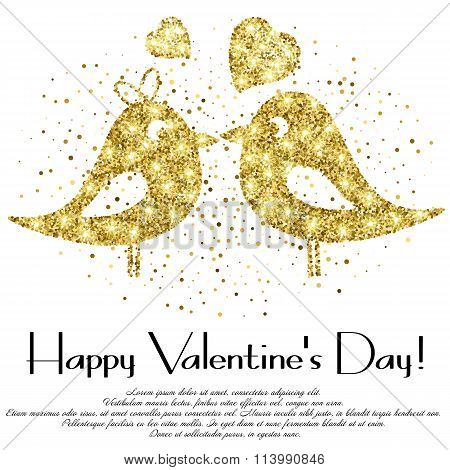 Shape Of Lovebirds From Golden Glitter With Lettering On Valentine's Day