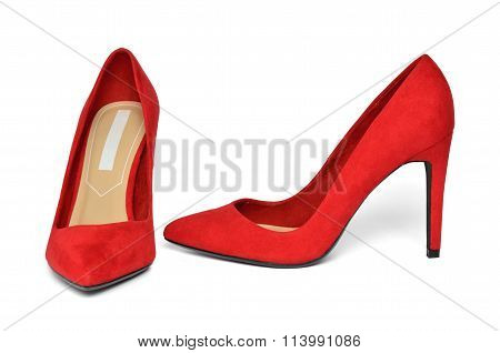 Pair Of Elegant Red Suede Shoes On White