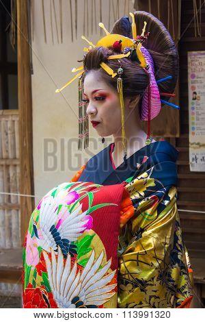 Kyoto, Japan - October 12, 2015 : Maiko, Apprentice Geisha, In Kyoto, Japan.