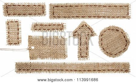 Burlap Fabric Tag Label, Rustic Hessian Cloth Patch, Torn Sackcloth Isolated White