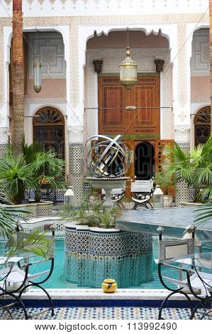 MARRAKECH, MOROCCO - OCTOBER 27, 2015: Traditional riad interior in Fes El Bali medina, Morocco, Africa