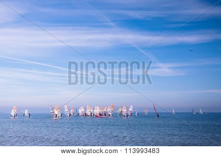 Sailing Ship Yachts With Color Sails