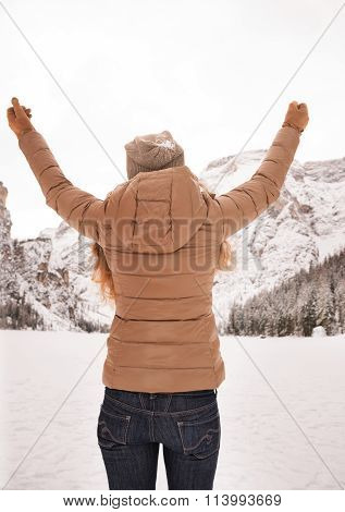 Seen From Behind Woman Among Snow-capped Mountains Rejoicing