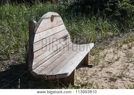 Wooden Bench at Pleasure House Point in Virginia Beach