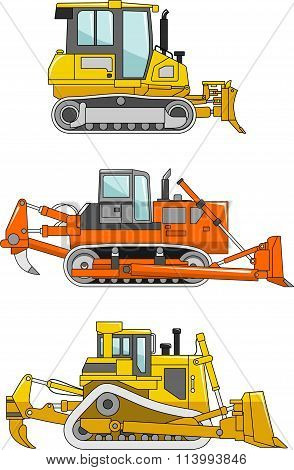 Set of dozers isolated on white background in flat style. Heavy construction machines. Vector illust