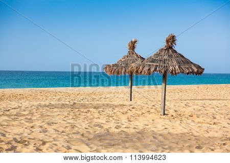 Parasols At Santa Maria Beach In Sal Island - Cape Verde - Cabo Verde