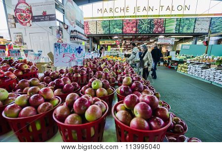 People Buy Groceries At Jean-talon Market