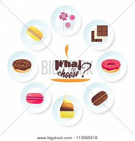 Set of delicious desserts. Vector for a dessert menu
