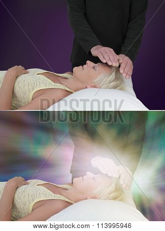 Healing session showing ethereal  energy field