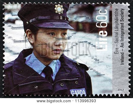 Postage Stamp Ireland 2013 Policewoman, Integration