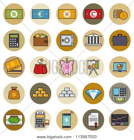 Finance and money round icon vector set. Collection of money, finance and banking related line icons with color fill in circles