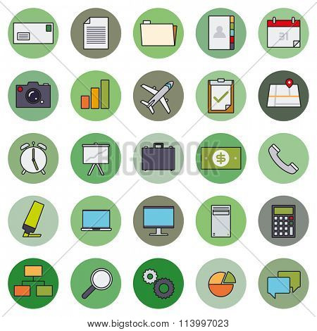 Business Basic Round Icon Vector Set 1. Collection of 25 business and office related filled line icons in circles