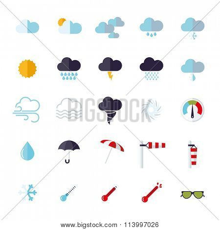 Weather flat design isolated icons set. Collection of weather and climate related flat design vector icons