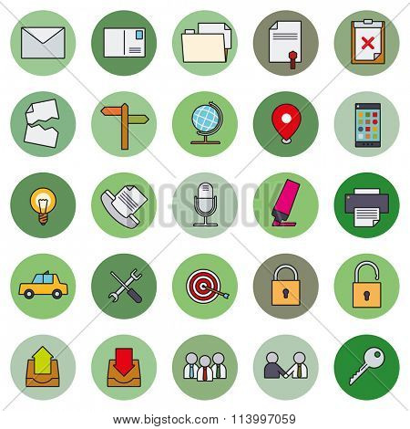 Business Basic Round Icon Vector Set 2. Collection of 25 business and office related filled line icons in circles