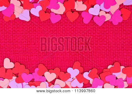 Paper Valentines Day hearts double border on pink burlap