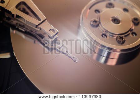 Hard Disk Drive Inside. Data Safety Concept