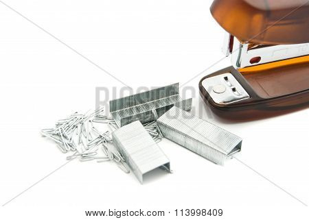 Orange Stapler And Staples