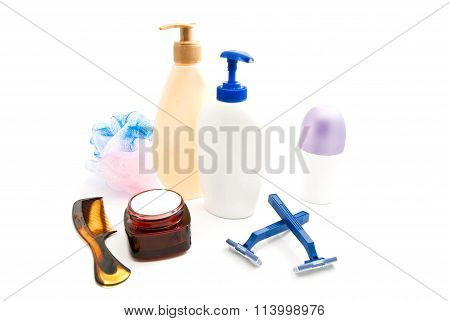 Gel, Cream, Blue Razors And Wisp